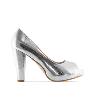 Beautiful Silver engraved Peep Toe Pumps