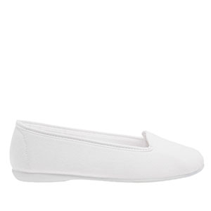 Valkoiset kangasballerinat kumi ulkopohjalla