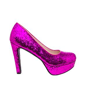 Lodičky flitrované na platformě, barva fialová