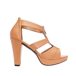 Vysoké sandály T-bar se zipem. Hnědá camel.