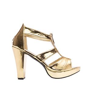 Vysoké sandály T-bar se zipem. Zlaté.