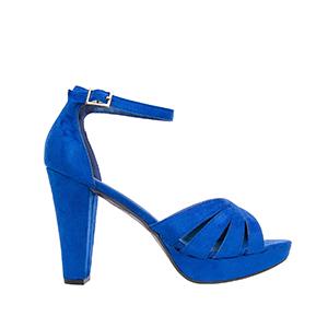 Vintage semišové páskové sandále na podpatku. Modré.