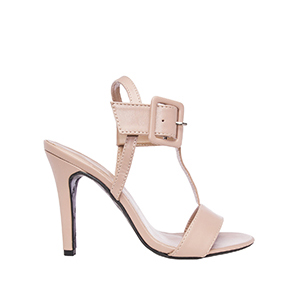 Páskové letní sandále na vysokém podpatku. Béžové.