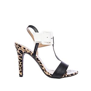 Páskové letní sandále na vysokém podpatku. Černá, bílá a leopard.