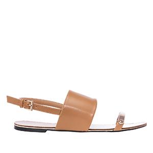 Elegantní letní sandále se širokým pásem, hnědé.