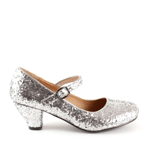 Spangenpumps in silbernem Glitzer-Look.