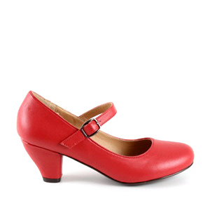 Escarpins Style Mary Jane en Simili Cuir Rouge pour Filles à Talon Large.