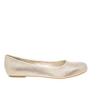 Jednoduché balerínky. Zlatý vzor krokodýlí kůže.