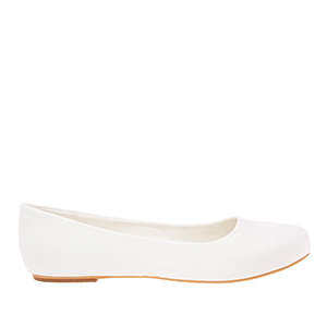 Classic Ballerinas in White Satin