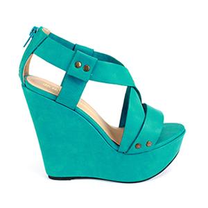 Visoke sandale na platformu sa nitnama, zelene (tirkizne)
