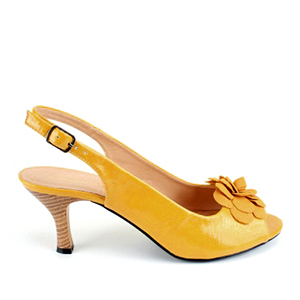 Lakovane sandale sa cvetom od antilopa, tamno žute