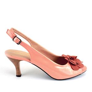 Lakovane sandale sa cvetom od antilopa, narandžaste
