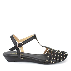 Sandale sa kaiševima na prednjem delu, crne