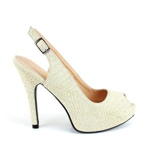 Otvorene sandale sa diskretnom šarom, prljavo bele