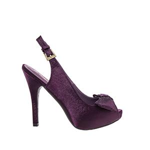 Violetti satiini slingback rusettikoristeeella